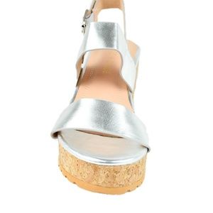 Chase & Chloe Shoes - Women's Silver Slingback Low Wedge Sandal